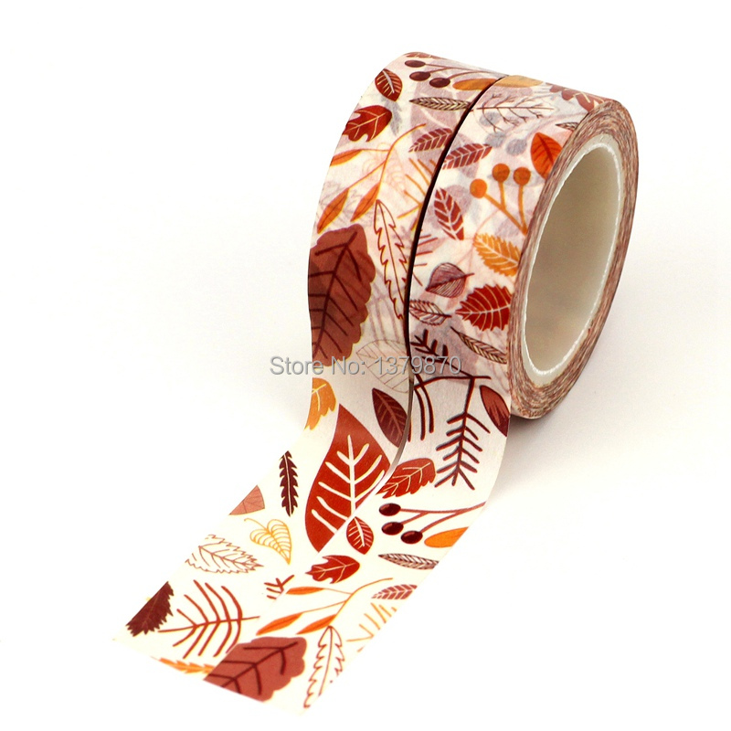 Custom Unique Design Brown Yellow Leaves Washi Tape 15mm*10meters For Planner Scrapbooking Decorative Masking Tapes