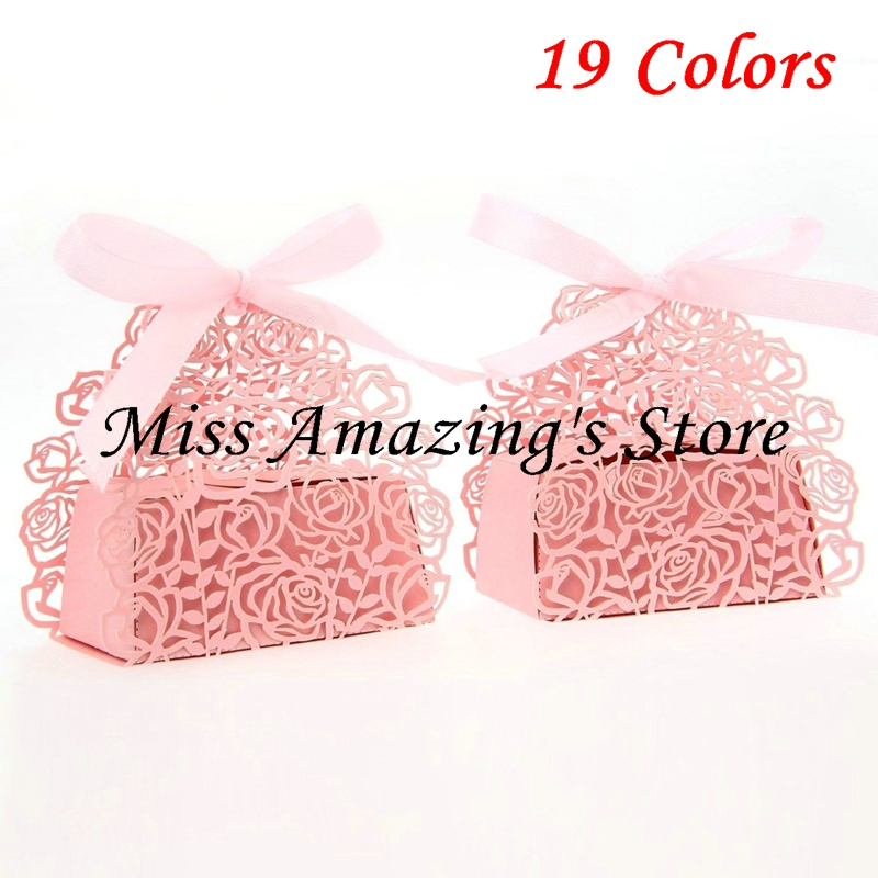 ᐅ40pcs Laser Cut Rose Flower Paper Candy Boxes With Ribbon Wedding Impressive Decorative Candy Boxes