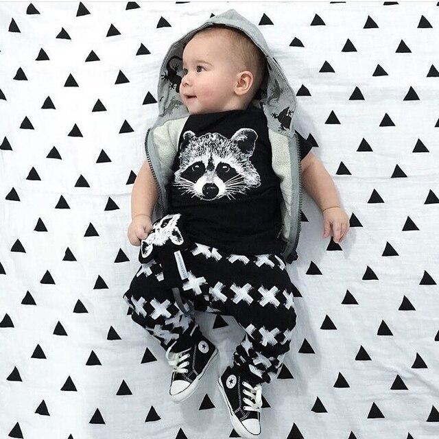 55ea199377352 Summer Baby Boy Clothing Set Short Sleeve Black Fox Printing Baby Clothes  Children T Shirt+Pant Newborn 2pcs Sets