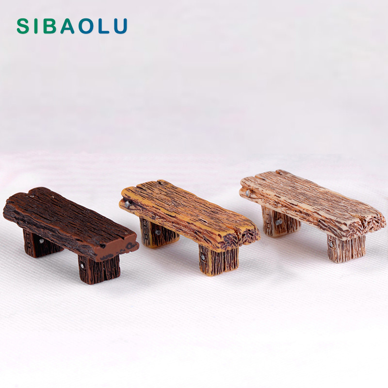 Superb Us 1 34 20 Off 1Pc Long Wood Bench Miniature Figurine Fairy Garden Diy Accessories Doll House Decoration Cartoon Animal Models Plastic Girl Toy In Bralicious Painted Fabric Chair Ideas Braliciousco