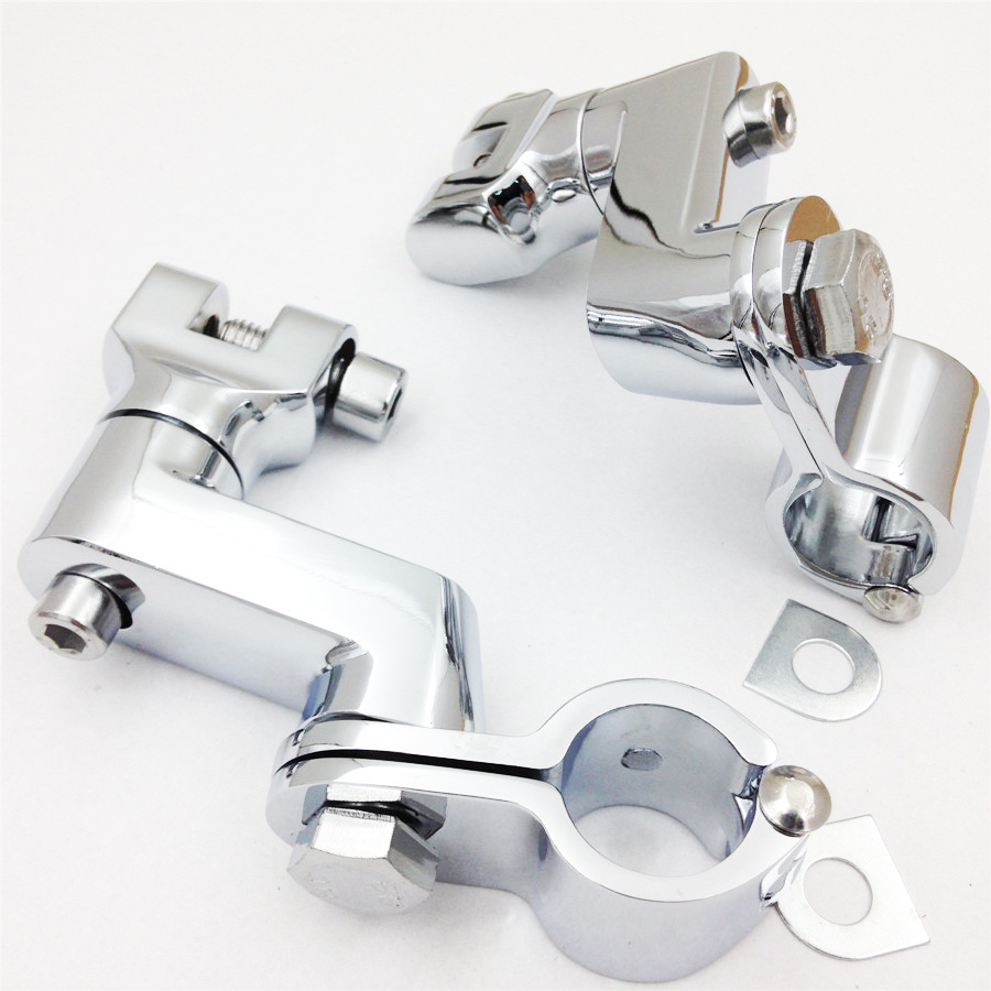 Aftermarket free shipping motorcycle parts Kuryakyn Chrome Longhorn Offset Peg Mounts 1 Magnum Quick Clamp For