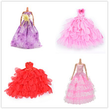 Handmade Wedding Dress Princess Evening Party Ball Long Gown Skirt Bridal Veil Clothes For Babi Doll Accessories xMas Gift Toy(China)