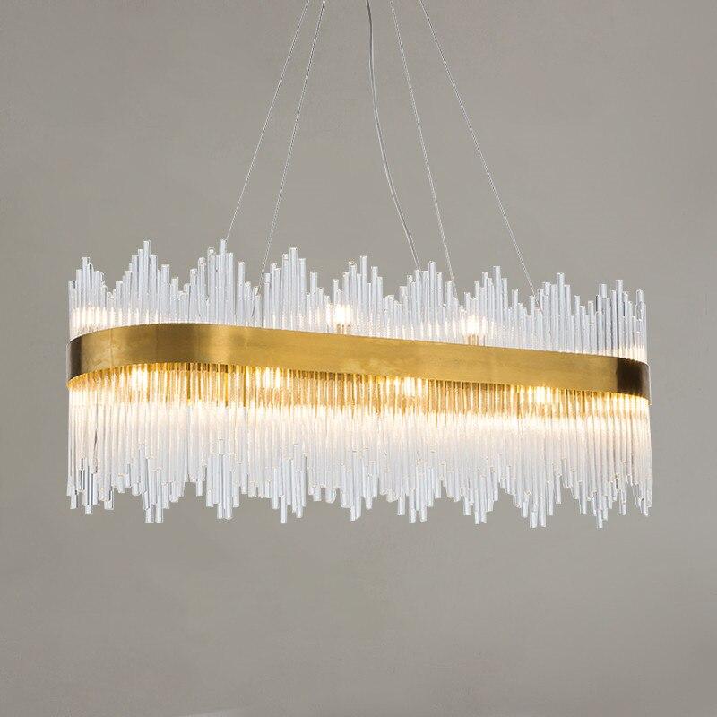 Lampe de pendentif LED moderne en verre cristal tige en acier inoxydable Suspension en acier inoxydable salon chambre hôtel Art Villa Suspension lampe G803