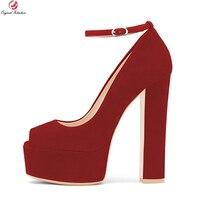 כוונה מקורית אופנה נשים משאבות פלטפורמת עקבים כיכר טו פיפ אישה נעלי משאבות שחור כחול אדום סגול בתוספת גודל ארה