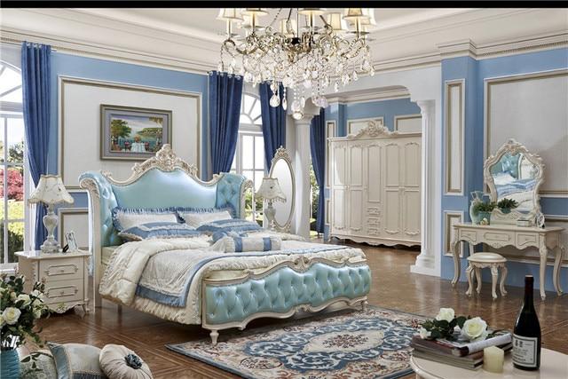 Hout Slaapkamer Meubels : Slaapkamer meubels china massief hout gesneden bed blauw kleur bed