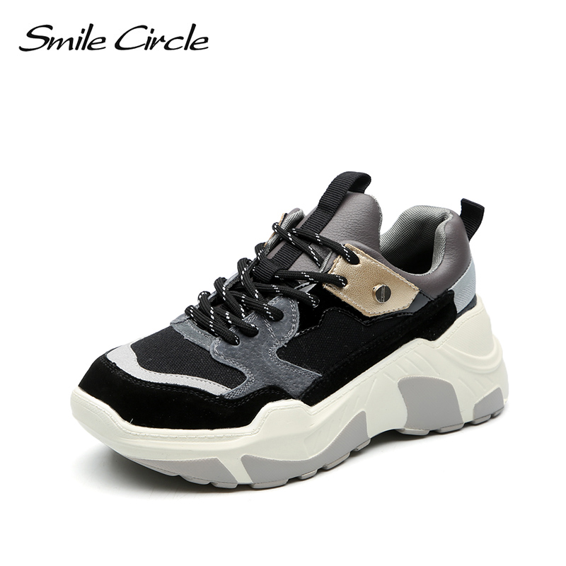Smile Circle Women Chunky Sneaker Suede Leather Lace-up Thick Bottom Flat Platform Shoes For Women 2018 Autumn Wedges Sneaker