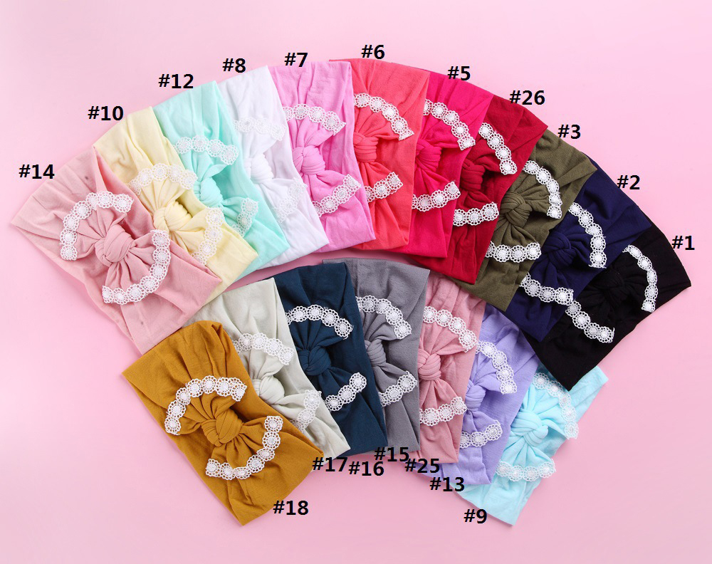 30pc lot 27 color U Pick Knot Bow Nylon Headbands with lace trim solid Wide Nylon