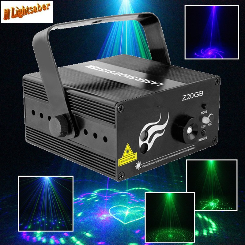 GB 20 Patterns Green And Blue Mini Laser Projector Stage Light DJ Disco Party Club Bar Show Lighting LED Blue Lights 3 lens 36 patterns rg blue mini led stage laser lighting professinal dj light red gree blue