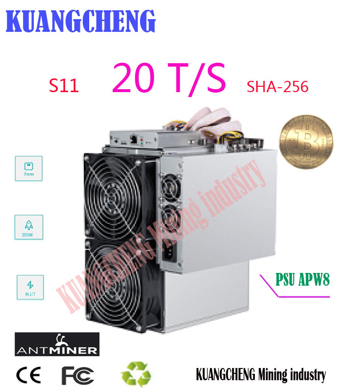 New Asic BTC BCH SHA-256 Miner AntMiner S11 20T With PSU Bitcoin Miner Better Than S9 S9i S9j T15 Z9 WhatsMiner M3 M10
