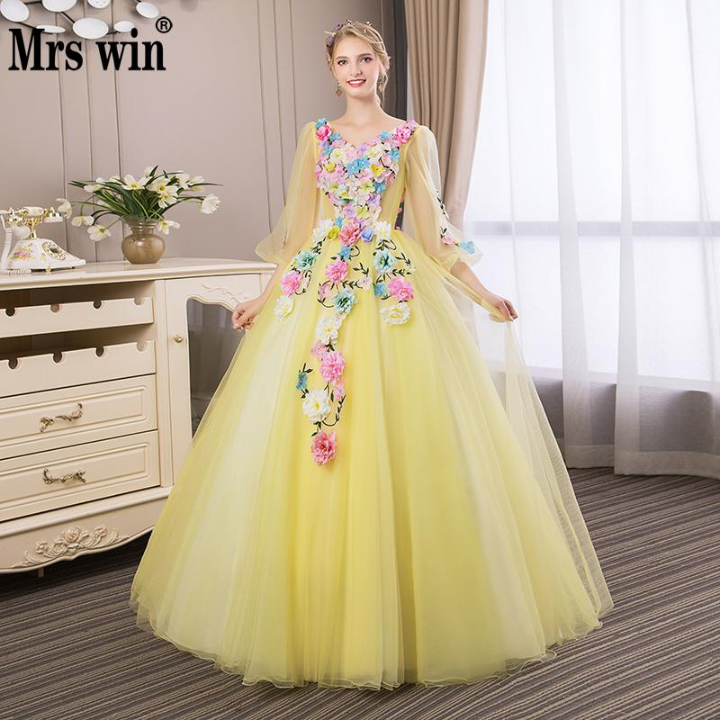 Flower Quinceanera Dresses 2018 New The Party Prom V-neck Ball Gown Full Cap Sleeve Sweet Floral Print Vestidos De 15 Anos