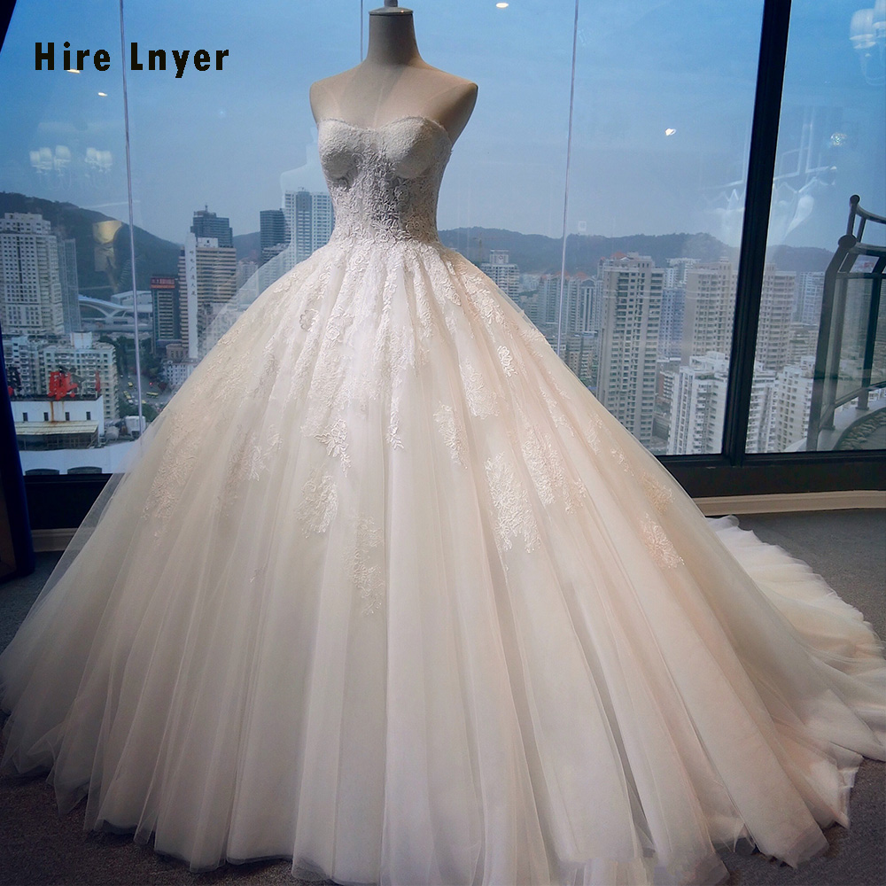 HIRE LNYER 2019 New Arrive Appliques Illusion Princess Gorgeous Ball Gown Wedding Dresses Plus Size With Petticoat Mariage