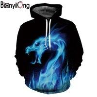 BIANYILONG Hot Fashion Hoodies Men Women 3d Sweatshirts Print Fire Dragon Hooded Hoodies Snake Sweatshirts Unisex