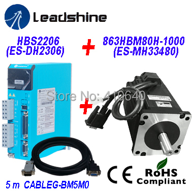 Leadshine  Easy Servo Drive HBS2206 Direct 220/230 VAC Input 6A   Current PLUS Easy Servo Motor NEMA 34 863HBM80H-1000 8.0 Nm leadshine gongzheng gzc3212dp gzcs3206 3208ds printer dc servo motor drive dcs810