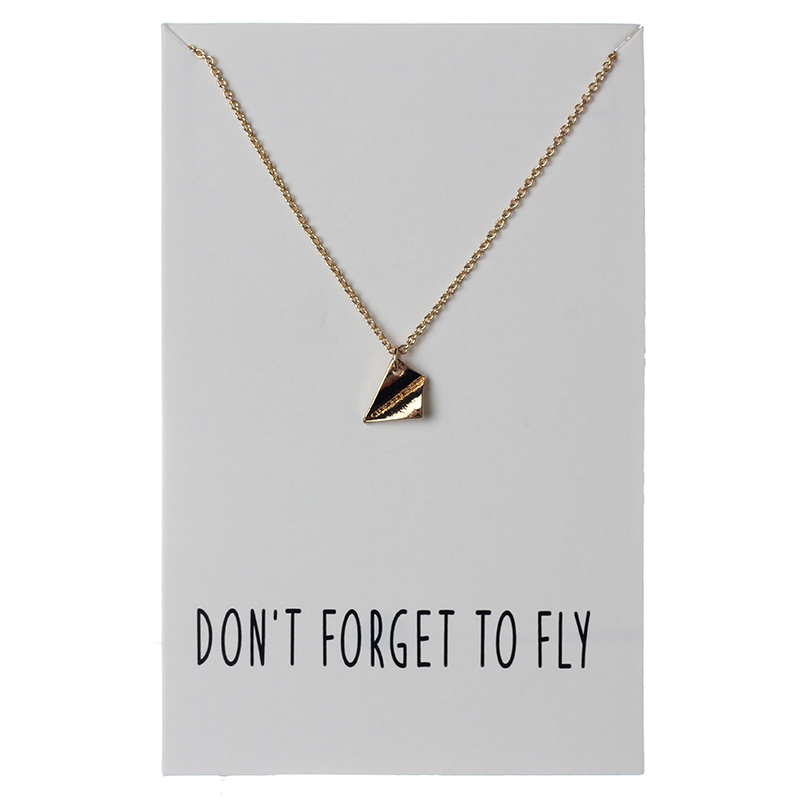 1pc Wish Card Fashion Minimaliste Airplane Charms Links Chains Wish Card Necklace Pendant Silver Color Jewelry As Women Party image