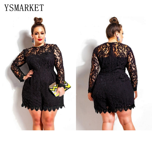Solid Color Hollow Out Long Sleeve Lace Rompers Plus Size Jumpsuit