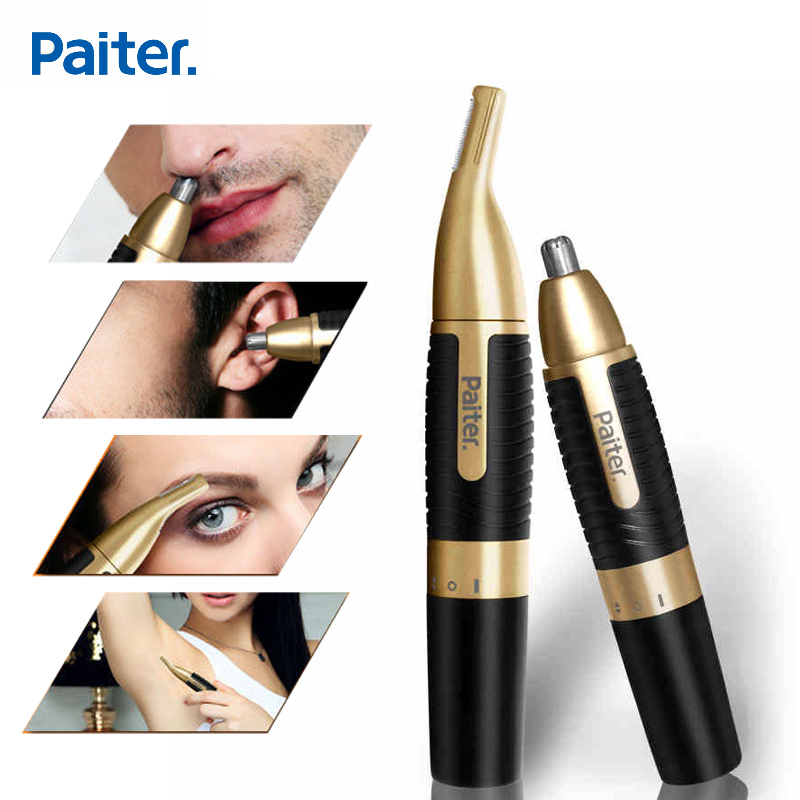 Paiter Men Electric Nose Trimmer for Nose Ear Sideburns Beard Hair Shaving Scissors Scraping Women Eyebrow Shaping Clip Device magnetic labret ear nose spike 16