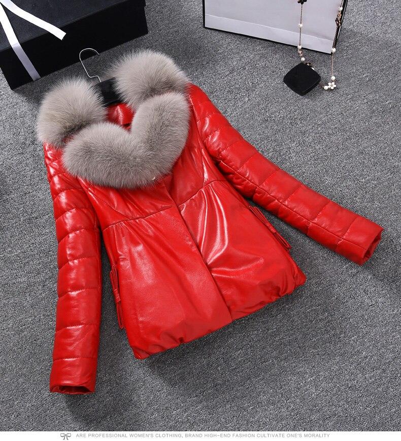Зимняя куртка из искусственной кожи, женские пуховые хлопковые пальто, высококачественные тонкие толстые теплые парки, Женская куртка с большим меховым воротником, женская одежда