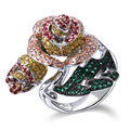 Flower copper Ring platinum plated W/ cubic zircon stone big women finger ring fashion jewelry Free shipment