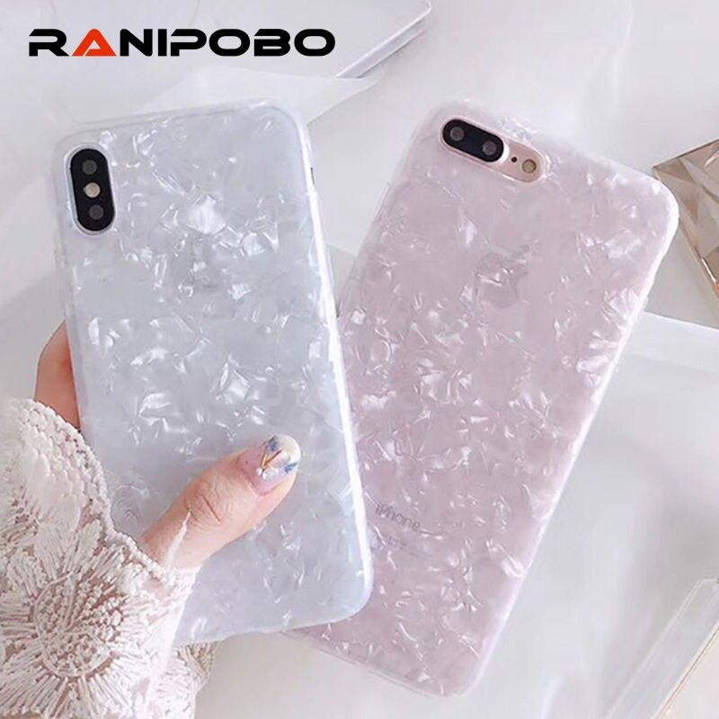 Роскошные блестящие оболочки шаблон телефона чехол для iPhone X 6 6 S плюс 7 7 Plus 8 8 плюс Bling мягкая IMD забавные раковины задняя крышка