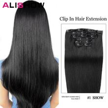 Прямые накладные человеческие волосы alishow набор из 7 шт 100