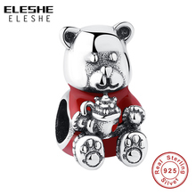 ELESHE Authentic 925 Sterling Silver Little Bear Pendant Red Enamel Animal Charm Fit Original ...