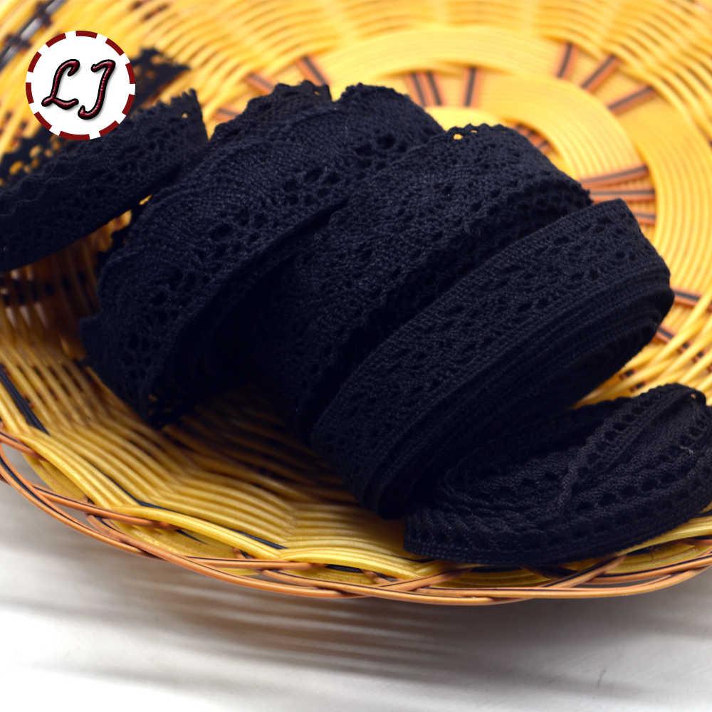 Vendita calda nuovo arrivato 5yd/lot pizzo nero nastro di tessuto di cotone lace trim cucire materiale per tende di casa garment accessori FAI DA TE
