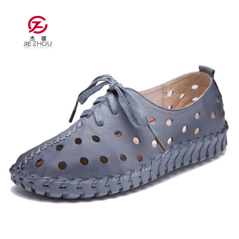 New Summer Women Sandals Handmade Shoes Genuine Leather Flat Lacing Breathable Shoes Woman Hollow Out Soft