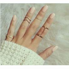 Hot Fashion 6pcs / Set Gold Urban Rings Crystal Above Knuckle stacking Band Midi Mid Ring for Wedding 18Jun30(China)