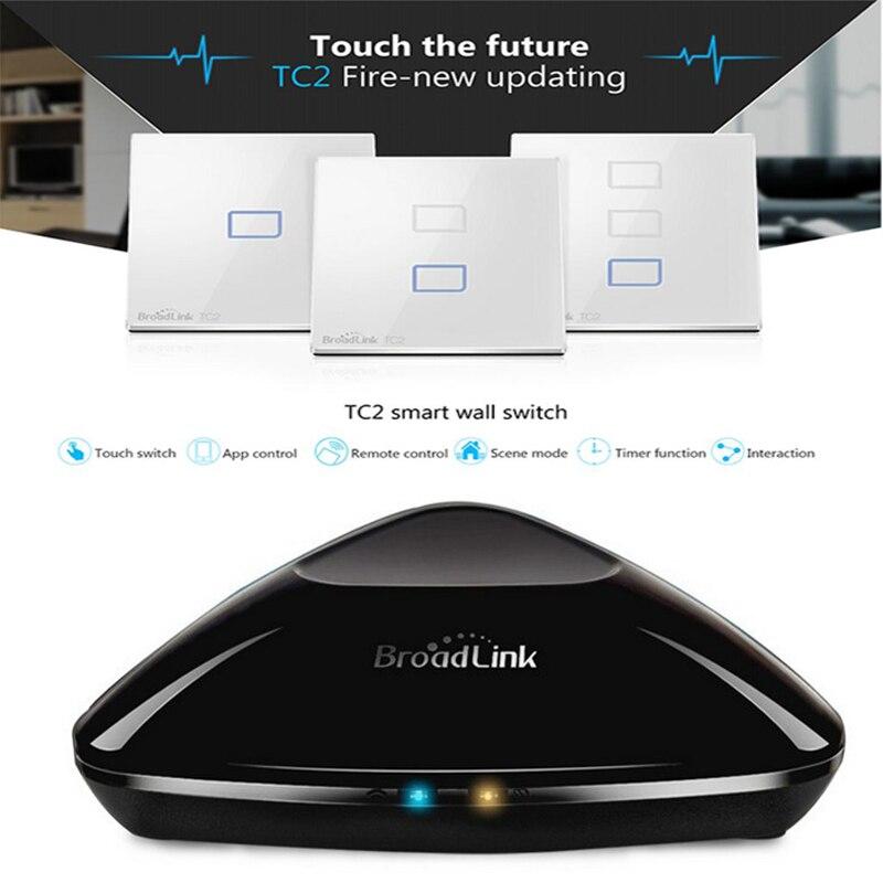 Commutateur intelligent de mur de lumière de la maison TC2 1 2 3 WiFi de Broadlink RM2 RM Pro commutateur électrique à télécommande intelligent d'ir RF par l'intermédiaire d'ios Android EU