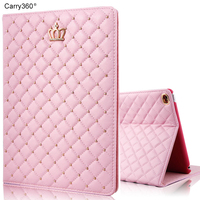 Case For IPad 2017 9 7 Inch Carry360 Brand New Fashion Luxury Crown Bling PU Leather
