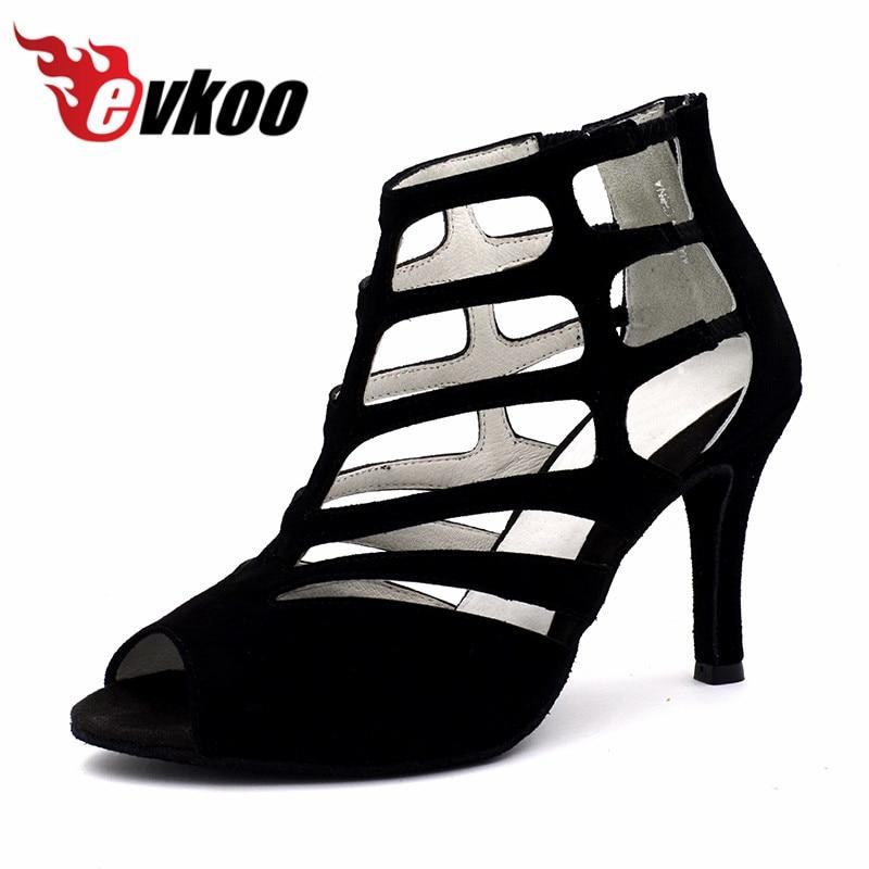 Top Qualité Evkoodance professionnel de danse Bottes chaussures Semelle En Cuir femelle Latine Salsa Ballroom Chaussures De Danse Pour Femmes Evkoo-467