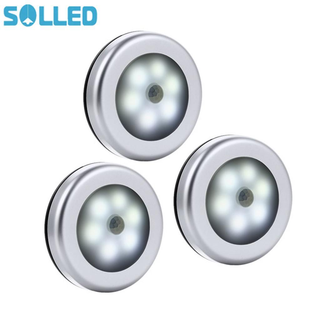 SOLLED 3PCS Infrared PIR Motion Sensor 6 LED Night Light Magnetic Wireless Detector Light Wall Lamp White Light Closet Light