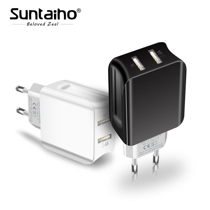 Suntaiho Dual USB Port Charger Travel Wall Adapter Smart Mobile Phone Charger for Iphone/Xiaomi/LG/Huawei EU Plug
