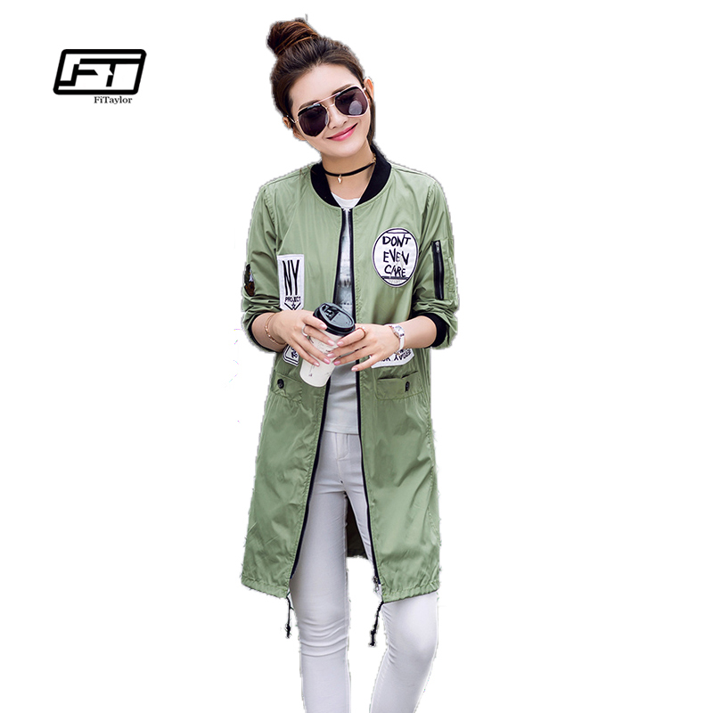 Fitaylor New Autumn Women Long Trench Coats Plus Size Print Letter Emboridery Windbreaker Street Fashion Baseball Casual Outwear(China)