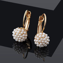 Sale 1 Pair Women Girls Charming Popular Elegant Simulation Pearl Beads Stud Earrings Jewelry Gift pair of charming rhinestone faux opal stud earrings