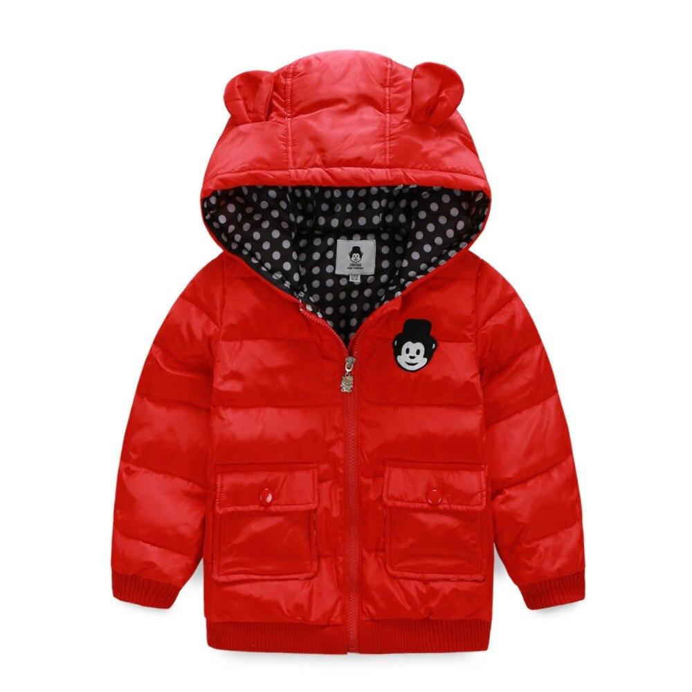 Cute boys children winter warm down jacket coat pure color with hat zipper closure long sleeve