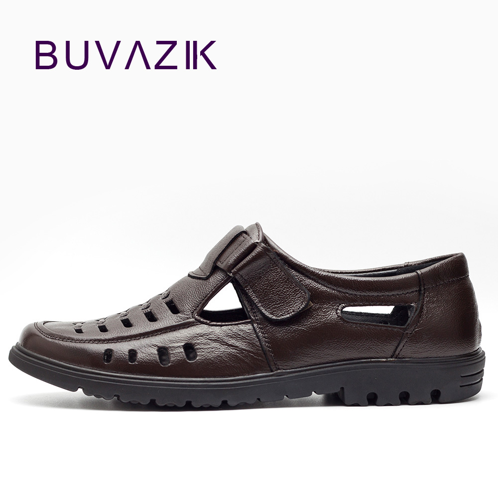 New arrival 2018 summer genuine leather hollow hole male men casual shoes breathable waterproof cool footwear ege brand men casual sandals new arrival genuine cow leather classics beach male shoes summer high quality sandals for men