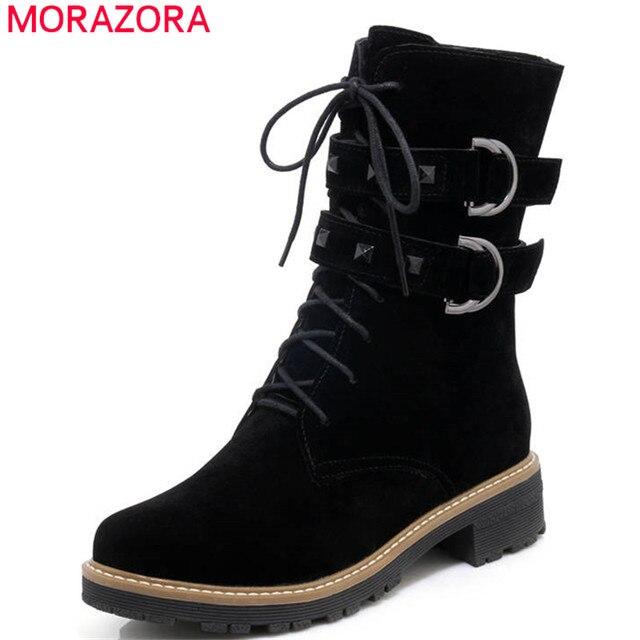MORAZORA 2018 commercio all'ingrosso di inverno stivali da neve zip + lace up caviglia stivali per le donne punta rotonda confortevole tacchi quadrati punk scarpe da donna