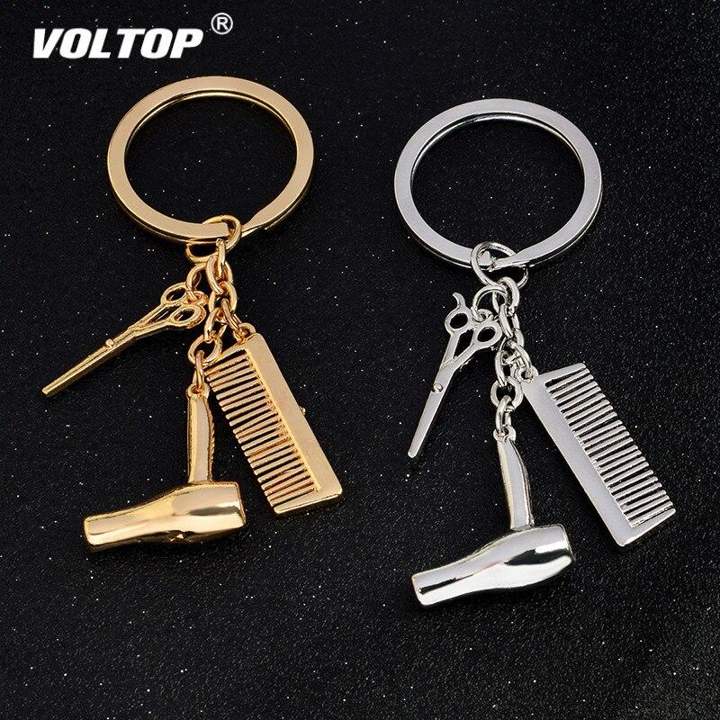 Personality Keychain Hair Dryer Combs Scissors Pendant Hairdressing Tools Stylist Scissor Blow Salon Creative Gift