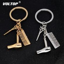 цена на Personality Keychain Hair Dryer Combs Scissors Pendant Hairdressing Tools Hair Stylist Scissor Blow Salon Creative Gift