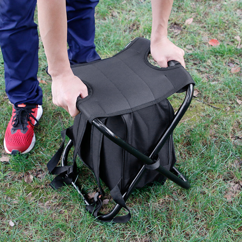 Image 3 - Outdoor Folding Stool Portable Backpack Chair Stool with Insulated Cooler Bag for Camping Fishing Hiking Beach Multi Tool-in Outdoor Tools from Sports & Entertainment