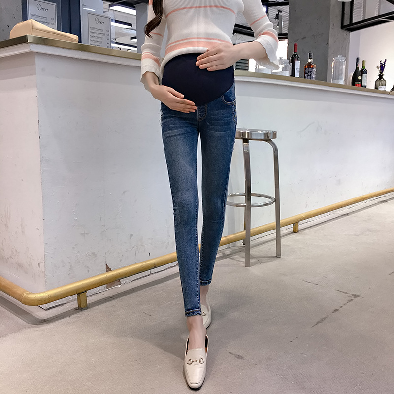 Maternity Clothes Maternity Belly Jeans 2 Colors Elastic Waist Skinny Denim Pants Clothes for Pregnant Women Pregnancy Trousers 2017 new fashion plus size women high waist pencil jeans pants fit lady jeans plus size sexy slim elastic skinny pants trousers