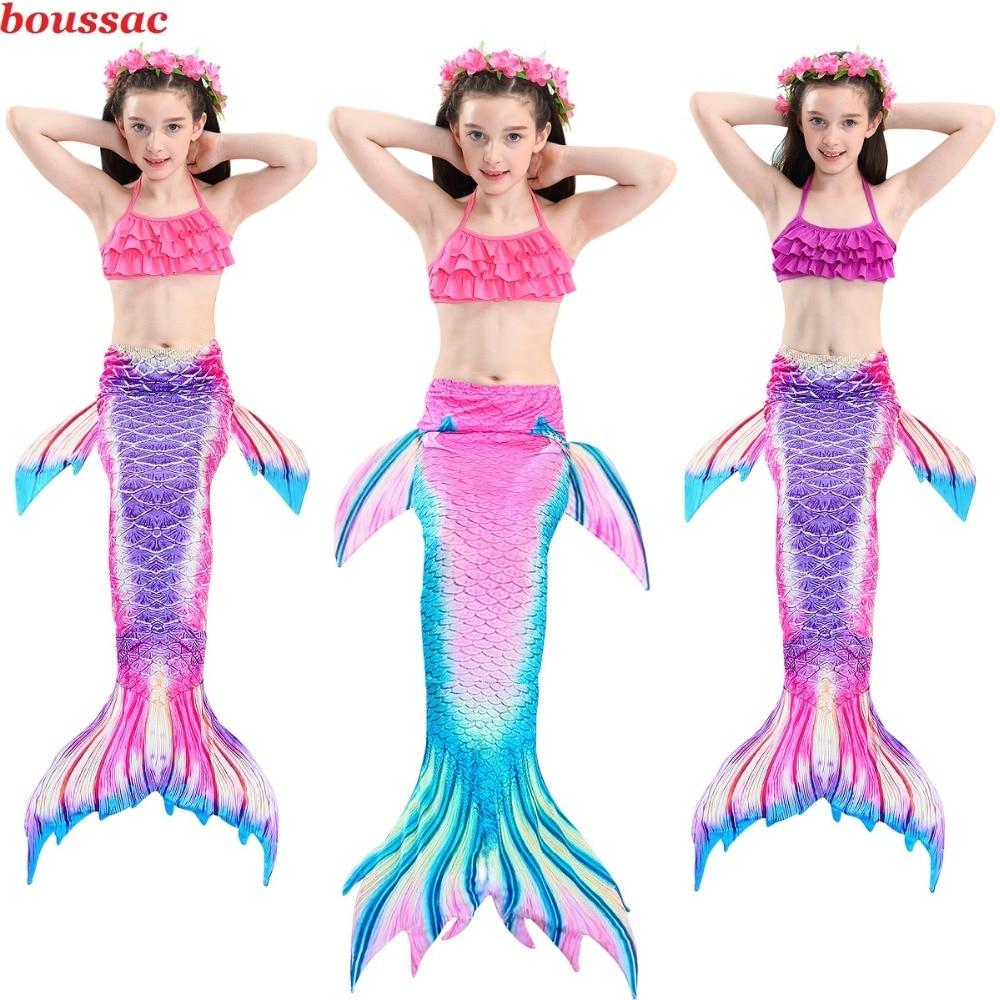 2019 Hot Sale Girls Kids Mermaid Tail Swimsuit Party Dress Up Girl Bikini Cosplay Costume Mermaid Costumes With Monofin Swim