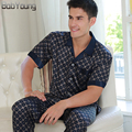 BabYoung 2017 Summer Men Silk Satin Pajamas Sets Thin Section Sleepwear V-neck Short Sleeve Pyjamas Hombre Loungewear Plus Size
