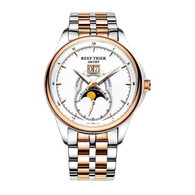 Риф Тигр художник serier RGA1928 Для мужчин Бизнес модное платье Часы для Для мужчин Moon Phase автоматические механические наручные Часы