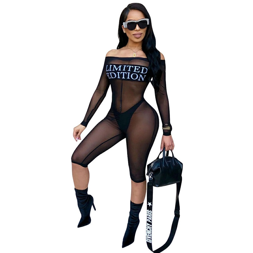Mesh Bodysuit Limited Edition Letters Print Jumpsuit Sexy Off The Shoulder Long Sleeve Women Rompers Mesh Bodycon Length Pants