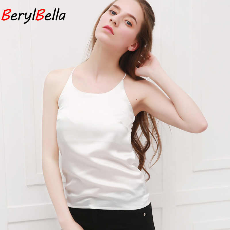 BeryBella Women Chiffon Camis Roupas Slik 2019 Summer Style Female Solid Black Sleeveless Camisole Sexy Pink Halter Top Tanks