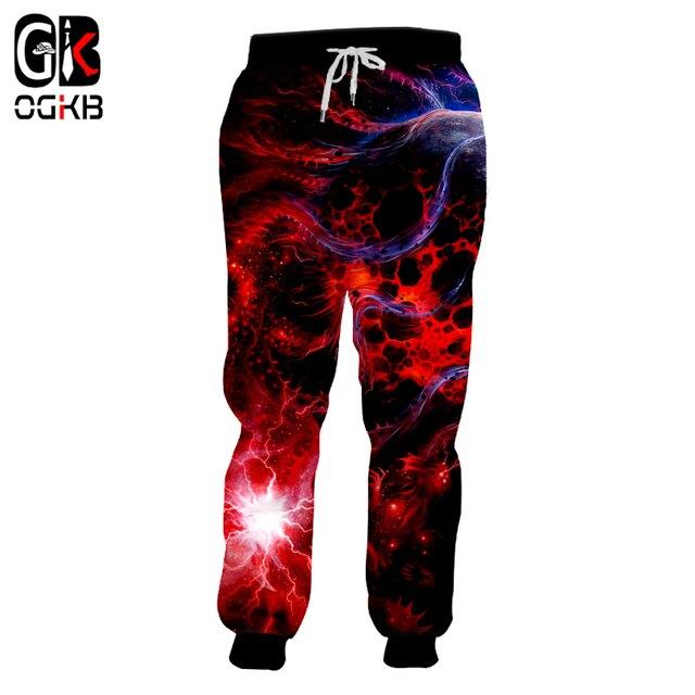 577a60498bae OGKB Fashion Galaxy Joggers Harem Pants Women Men Red Space 3d Print Sweat  Pants Sweatpants Man Fitness Slim Fit Trousers