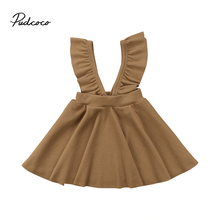 2018 Brand New Infant Toddler Child Kid Baby Princess Girls Strap Party Pageant Tutu Dress Ruffled Clothes Solid Outfit Dress