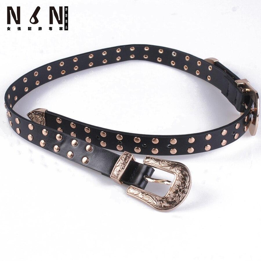 Les nouveaux rivets parure obi ceintures de mode double ceinture boucle  personnalité filles joker marée taille décoration c7b760fa60b